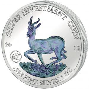 AFRICAN SPRINGBOK - GABON - 2012 1 oz Pure Silver in Capsule - Hologram
