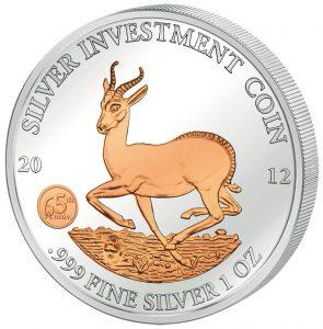 AFRICAN SPRINGBOK - GABON - 2012 1 oz Pure Silver in Capsule - Rose Gold