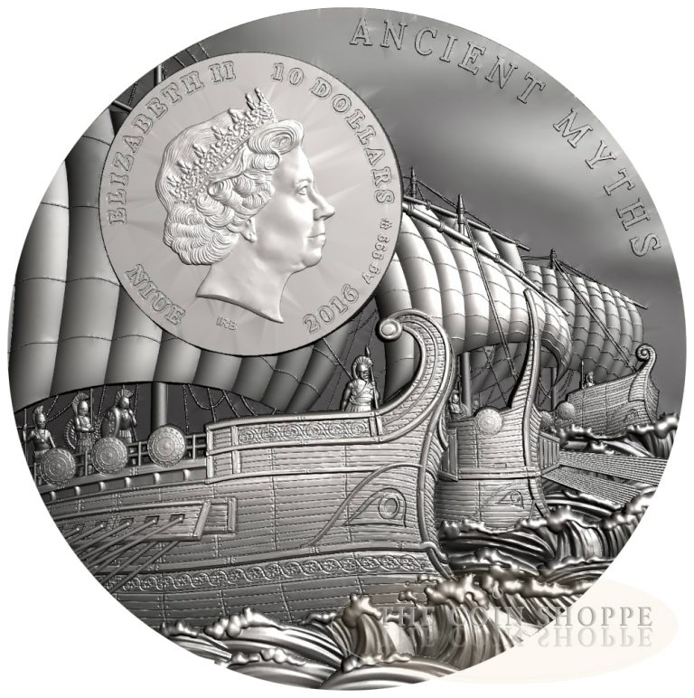 ANCIENT MYTHS: TROJAN HORSE - 2016 2 oz Pure Silver Coin with Wood Inlay - Mint of Poland - Niue