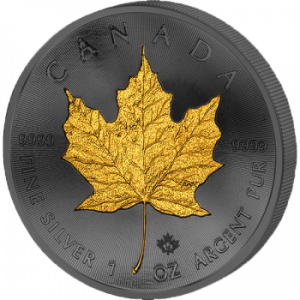 2015 1 oz Canadian Silver Coin - Golden Enigma - Maple Leaf - Silver & Ruthenium & Gold Plated