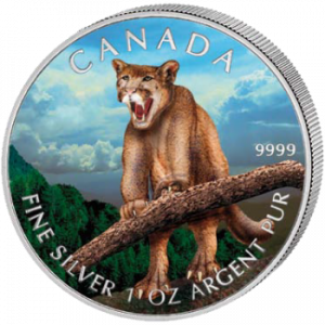 2012 1 oz Pure Silver Color Coin - Canadian Wildlife Series - Cougar