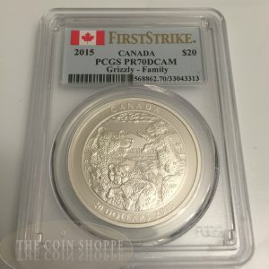 GRIZZLY BEAR - FAMILY - FIRST STRIKE - PCGS PR70 DCAM - 2015 $20 1 oz Fine Silver Coin