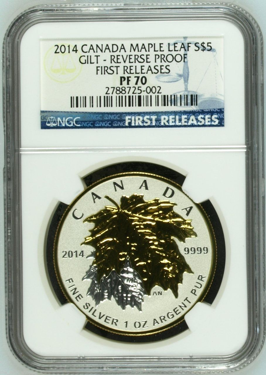 2014 Canada Maple Leaf 5 Gilt Reverse Proof First