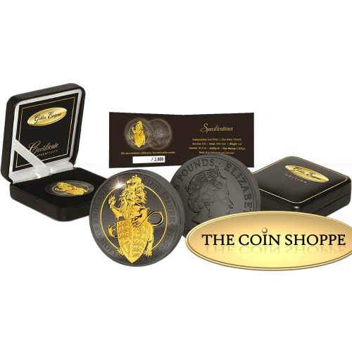 LION - QUEEN'S BEASTS - GOLDEN ENIGMA - 2016 2 oz Pure Silver Coin - Ruthenium and 24K Gold Plating