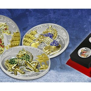 YEAR OF THE HORSE - PAVE SET - 2014 3 X 20 Gram Pure Silver Coins - Exclusive Box