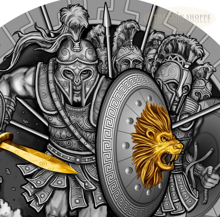 ARES - GREEK GOD OF WAR - 2017 2 oz Pure Ultra High Relief Silver Coin - Antique Finish with Partial 24K Gold Gilding - Niue