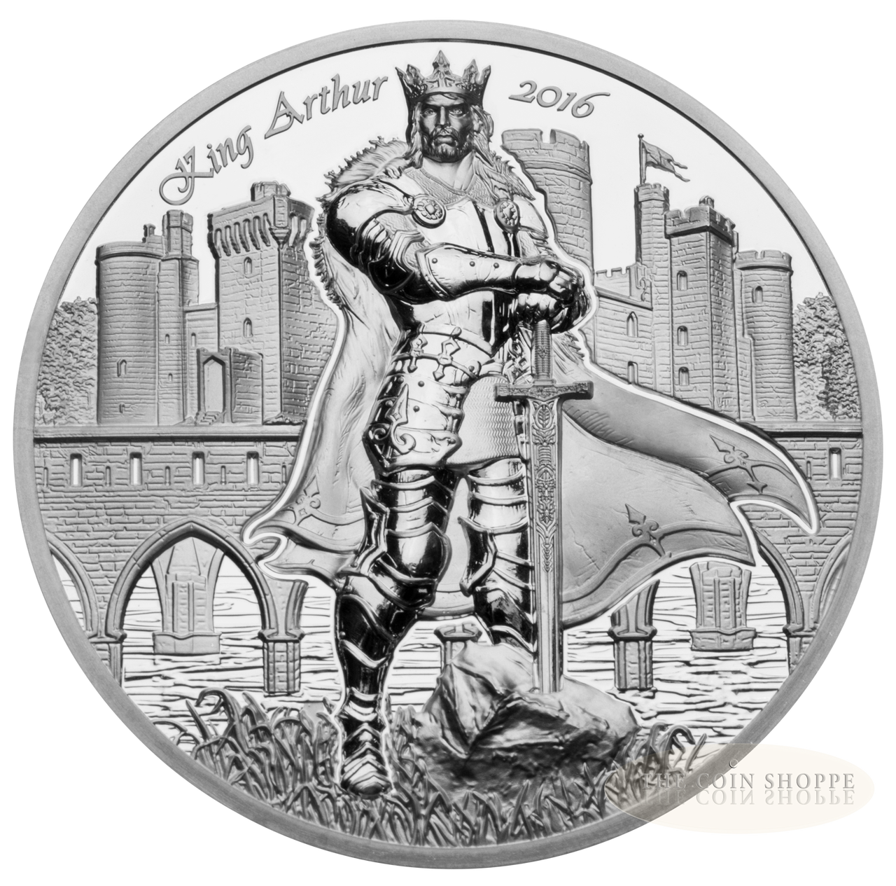 LEGENDS OF CAMELOT KING ARTHUR 2016 2 oz Ultra High Relief Proof Silver Coin