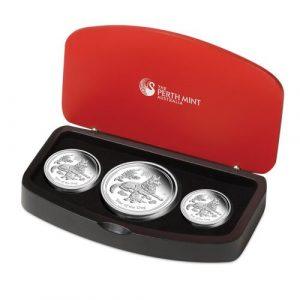 YEAR OF THE DOG Australian Lunar Series II Three-Coin Set - 2018 2 oz , 1 oz, 1/2 oz Fine Silver Proof Coins