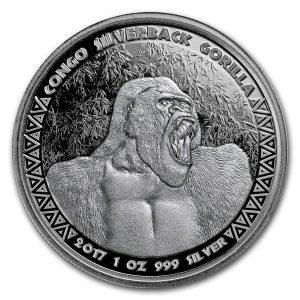 CONGO SILVERBACK GORILLA - 2017 1 oz Silver Coin BU -  Republic of the Congo