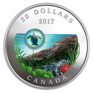 *SEA TURTLE - UNDER THE SEA - 2017 $20 1 oz Fine Silver Coin - Royal Canadian Mint