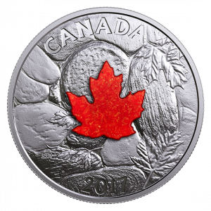 *MAJESTIC MAPLE LEAVES WITH DRUSY STONE - 2017 $20 1 oz Fine Silver Coin - Royal Canadian Mint