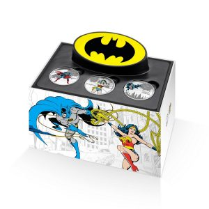 SUPERMAN VS BATMAN VS WONDER-WOMAN - DC Comics Originals - 2016 Pure Silver 3-Coin Set Box ONLY