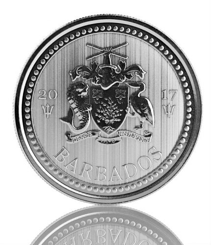 BARBADOS TRIDENT - 2017  1 oz Fine Silver Proof-like Coin