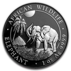 SOMALIAN AFRICAN ELEPHANT - SILVER ENIGMA - 2017 1 oz Silver Coin - Black Ruthenium