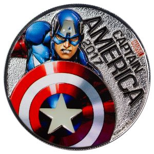CAPTAIN AMERICA - MARVEL LIGHT-UPS - ILLUMINATING COIN SERIES - 2017 Silver Plated $0.50 Coin - Fiji