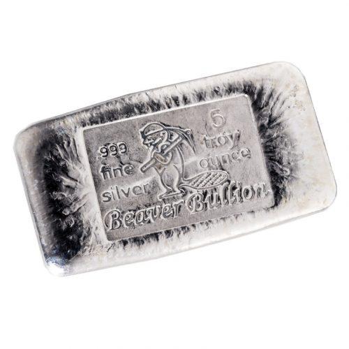 BEAVER BULLION - CANADA - POURED SILVER BAR - 5 oz Pure .999 Silver Bar