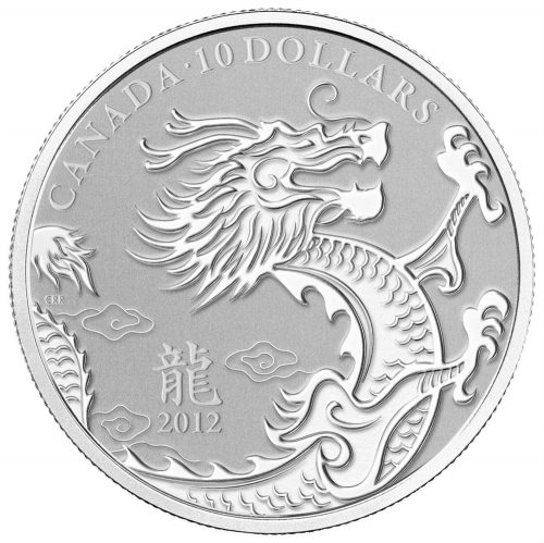 YEAR OF THE DRAGON - 2012 $10 1/2 oz Fine Silver Coin - Royal Canadian Mint
