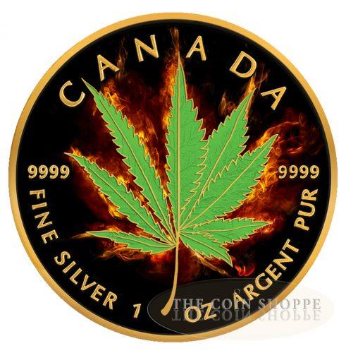 ** FREE SHIPPING WORLDWIDE ** BURNING MARIJUANA - HYBRID - SATIVA & INDICA - 2017 1 oz Pure Silver Maple Leaf Coin - Ruthenium and 24K Gold
