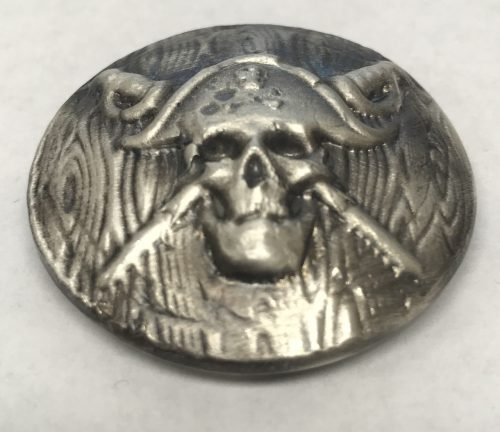 JOLLY ROGER ON SHIELD - ANTIQUE FINISH - CONVEX - HAND POURED - 2016 2 oz Pure Silver 3D Bar - BEAVER BULLION & THE COIN SHOPPE