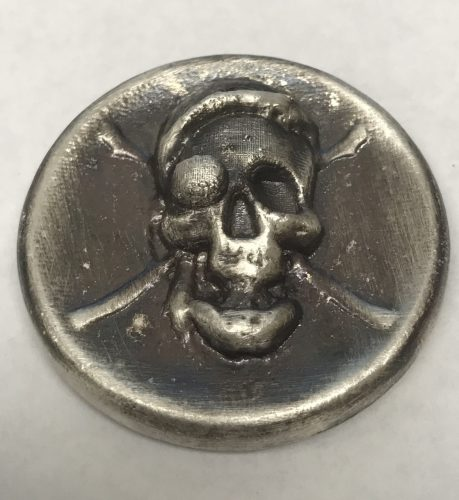 JOLLY ROGER - ANTIQUE FINISH - HIGH RELIEF - HAND POURED - 2016 2 oz Pure Silver 3D Bar -BEAVER BULLION & THE COIN SHOPPE