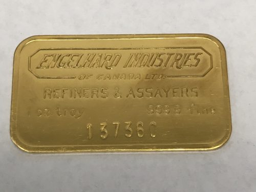 ENGLEHARD INDUSTRIES OF CANADA  - VINTAGE - STAMPED BAR - 1 oz Pure Gold - Low Serial