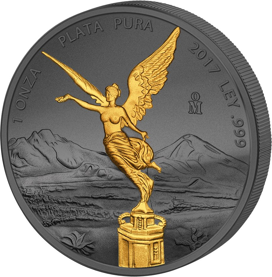 LIBERTAD - GOLDEN ENIGMA - 2017 1 oz Mexican Silver Coin - Black Ruthenium & Gold Plated
