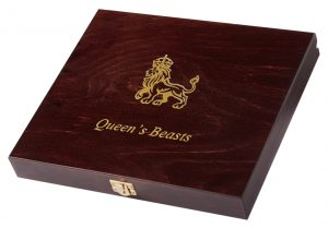 QUEEN'S BEASTS - WOODEN PRESENTATION BOX - For 10 x 2 oz Silver Coins