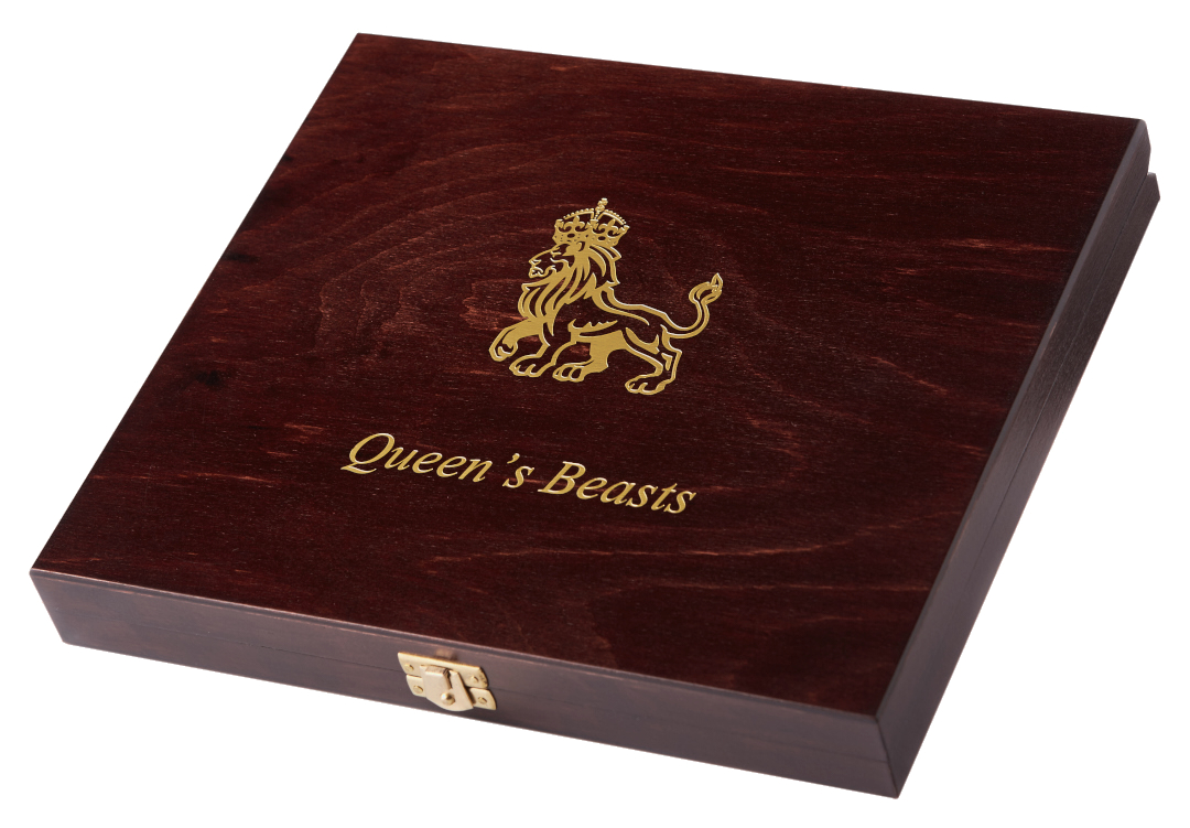 QUEEN'S BEASTS - WOODEN PRESENTATION BOX - For 10 x 1/4 oz Gold Coins