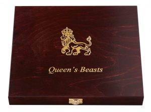 QUEEN'S BEASTS - WOODEN PRESENTATION BOX - For 10 x 1 oz Gold Coins