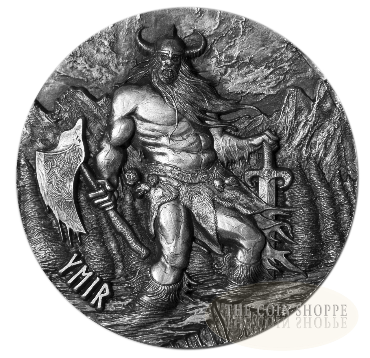 **FREE SHIPPING TO CANADA & USA ** YMIR - THE FATHER OF GIANTS - LEGENDS OF ASGARD SERIES - 2017 3 oz Fine Silver Max Relief Coin