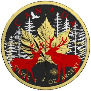 **FREE SHIPPING** MAPLE LEAF DEER - 2017 Canadian Silver Maple Leaf 1 oz Pure Silver Coin - Color and 24K Gold Gilding