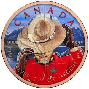 **FREE SHIPPING** MAPLE LEAF - RCMP - 2016 Canadian 1 oz Pure Silver Coin - Color and Pink Gold