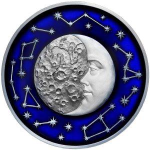 THE MOON - CELESTIAL BODIES - 2017 2 oz Pure Silver Coin- NIUE- SELECTIVE DARK ANTIQUE FINISH & BLUE METALLIC ENAMEL