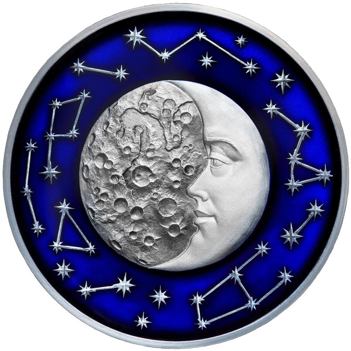 The Moon Celestial Bodies 2017 2 Oz Pure Silver Coin