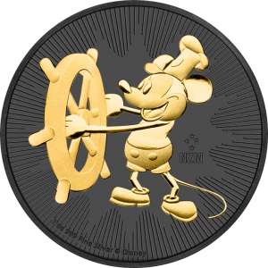 **FREE SHIPPING** STEAMBOAT WILLIE - MICKEY MOUSE - 2017 1 oz Pure Silver Coin - 24K Gold Plating & Black Ruthenium