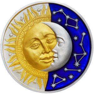 THE SUN & THE MOON - CELESTIAL BODIES - 2017 2 oz Pure Silver Coin- NIUE- SELECTIVE GOLD PLATED & BLUE METALLIC ENAMEL