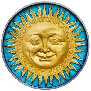 THE SUN - CELESTIAL BODIES - 2017 2 oz Pure Silver Coin- NIUE- SELECTIVE GOLD PLATED & BLUE METALLIC ENAMEL