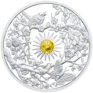 SPRING - FOUR SEASONS - 2017 $5 2 oz  High Relief Silver Coin - Proof Finish with Citrine Gemstone