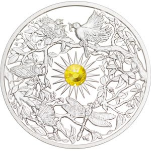 SUMMER - FOUR SEASONS - 2017 $5 2 oz  High Relief Silver Coin - Proof Finish with Sunflower Gemstone