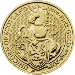 THE UNICORN OF SCOTLAND - THE QUEEN'S BEASTS - 2018 1/4 oz Gold Bullion Coin