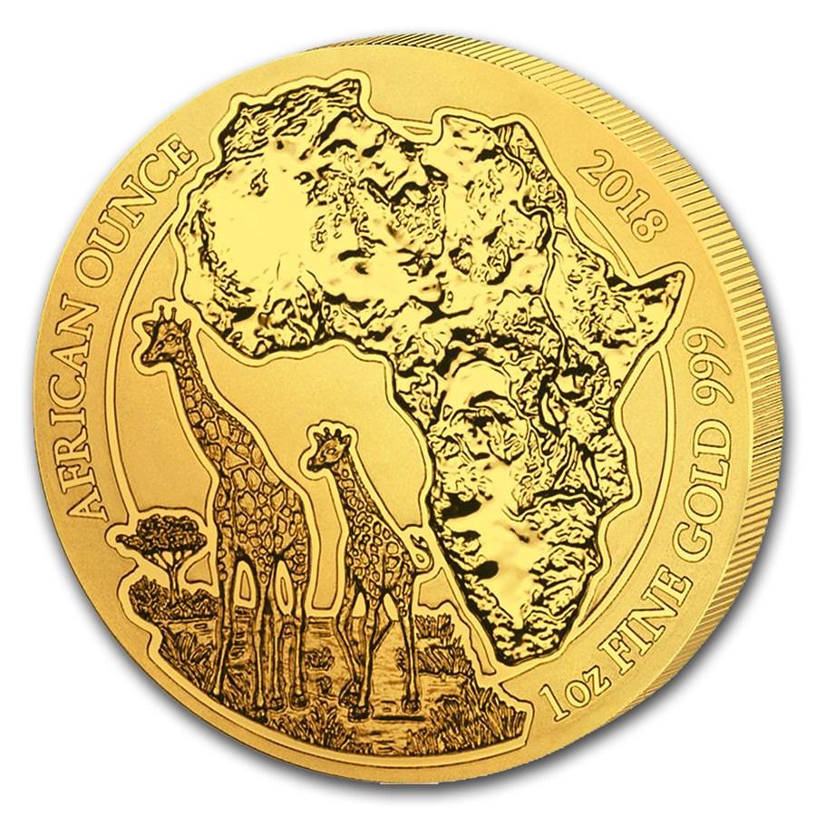 Giraffe Rwanda African Ounce 2018 1 Oz Pure Gold Coin