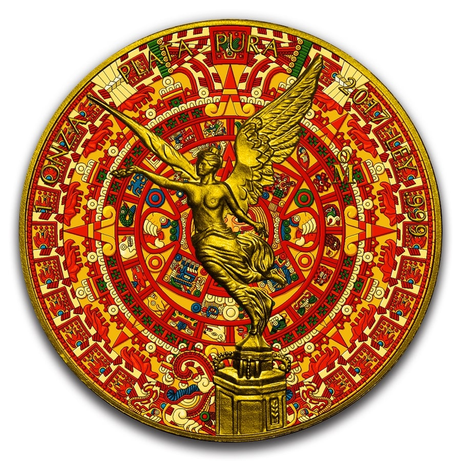 Aztec Clendar 2017 1 Oz Libertad Silver Coin Color And