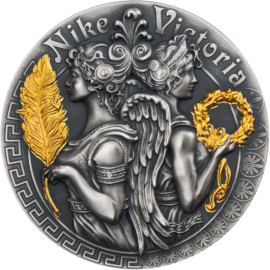 Victoria And Nike Goddesses 2018 2 Oz Pure Silver Coin Niue