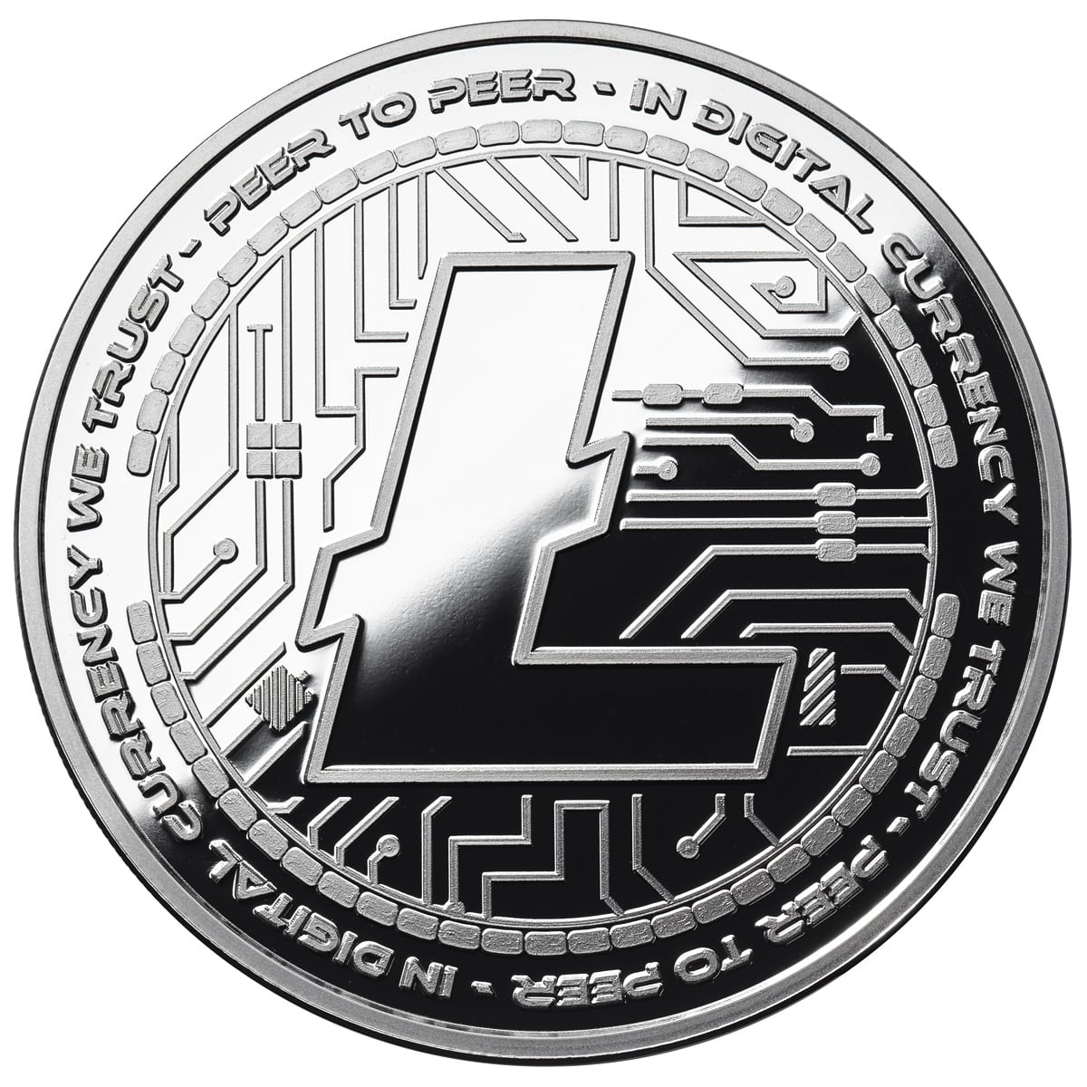 LITECOIN CRYPTO ICON  1 OZ PURE SILVER ANTIQUED ROUND COIN ANONYMOUS MINT