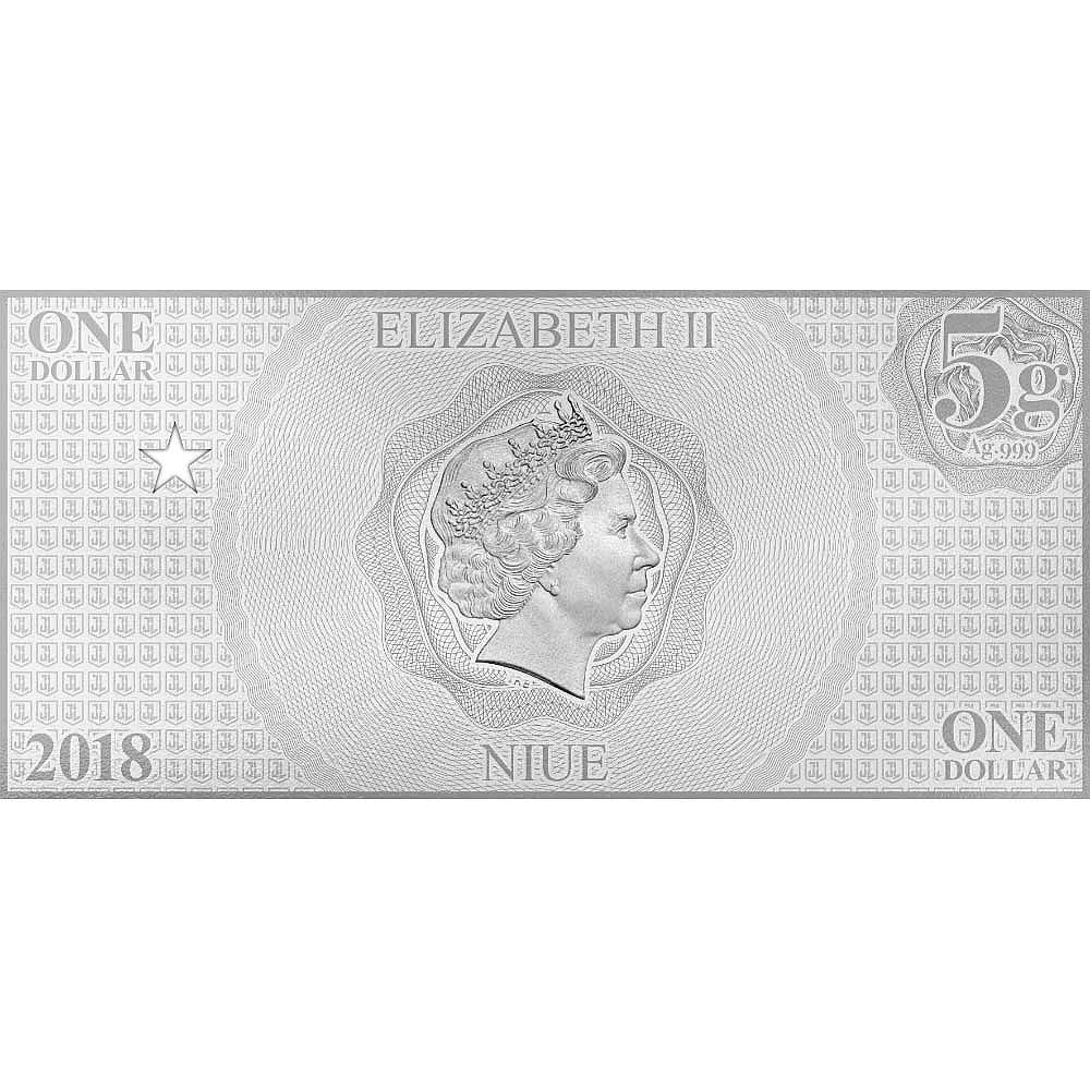 2018 Niue 5 gram Silver $1 Note Justice League Series The Flash