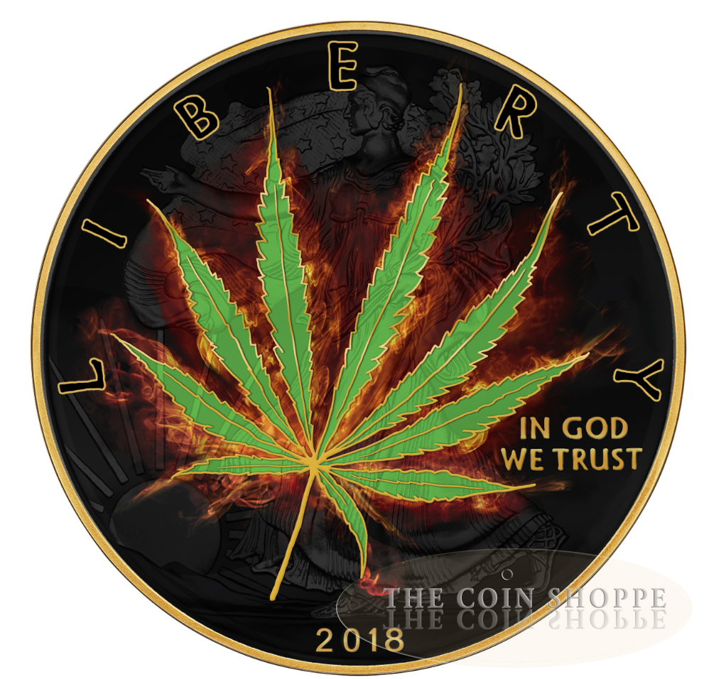** FREE SHIPPING WORLDWIDE ** BURNING LIBERTY MARIJUANA - SATIVA - 2018 1  oz Pure Silver American Silver Eagle Coin - Ruthenium and 24K Gold - The