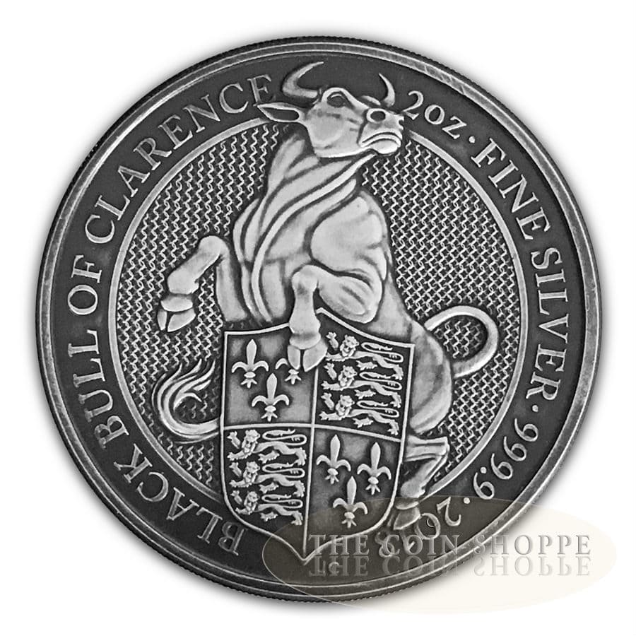 ANTIQUE BLACK BULL - QUEEN'S BEASTS - 2018 2 oz Pure Silver Coin - MINTAGE  150 - The Coin Shoppe