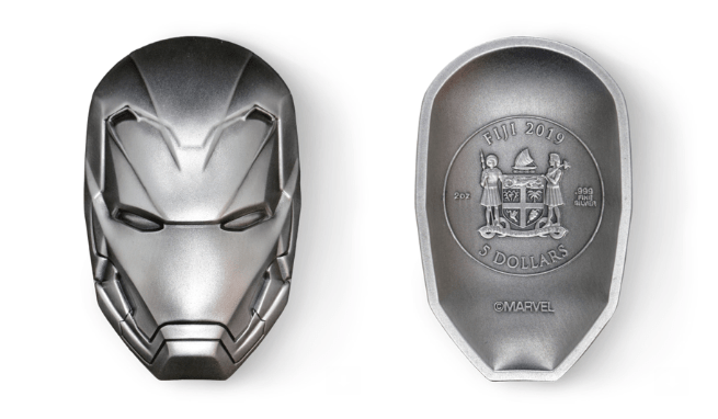 IRON MAN MASK 2019 2 OZ Antiqued Pure Silver Coin Fiji MARVEL ICON SERIES