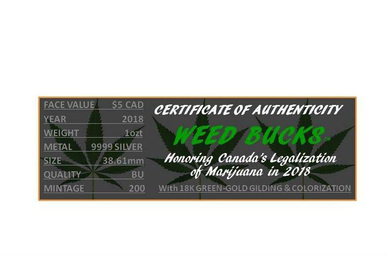 Smokin Loonie Weed Bucks 2018 1 Oz Canadian Silver