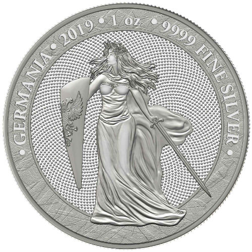 2019 Lady Germania Allegories 1 Ounce Pure Silver Colorized Coin!